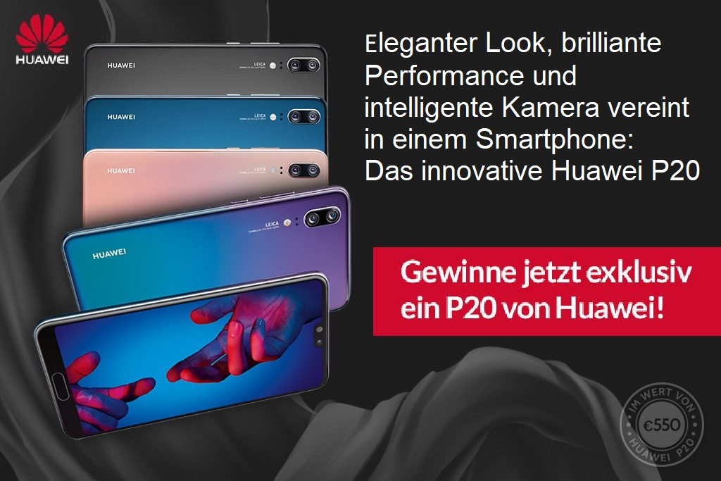 Das innovative Huawei P20 macht Dir mit künstlicher Intelligenz das Leben leichter. Mach mit und gewinne jetzt das P20 von Huawei!